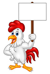 Cartoon rooster holding blank sign