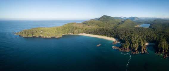 Beautiful aerial panoramic seascape view of Pacific Ocean Coast during a vibrant summer day. Taken at Grant Bay, Northern Vancouver Island, BC, Canada.