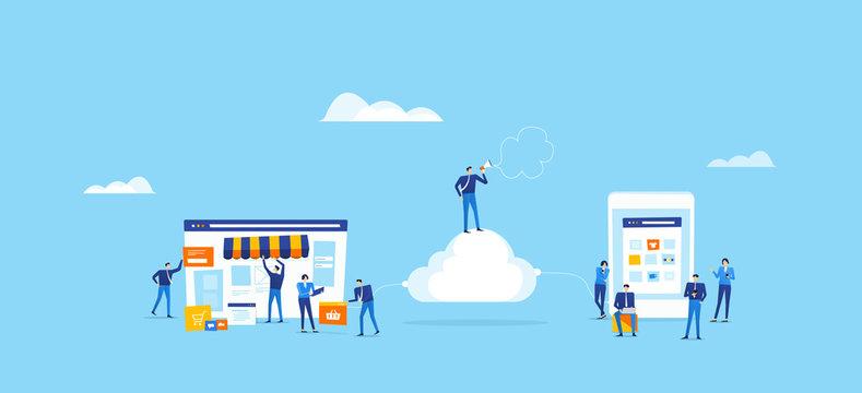 developer and designer team create  online shop  and connect on cloud for online user concept