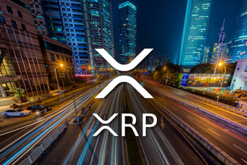Concept of  XRP Ripple coin moving fast  on the road, a Cryptocurrency blockchain platform , Di