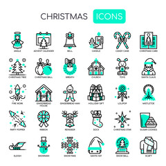 Christmas Elements , Thin Line and Pixel Perfect Icons
