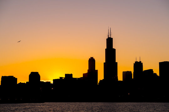 Chicago skyline picture during beautiful orange yellow sun as it lowers below the building silhouettes and the water of lake Michigan in the foreground