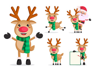 Reindeer vector character set. Rudolph christmas cartoon characters with santa claus isolated in white background. Vector illustration.