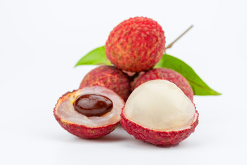 lychee fruit on white background