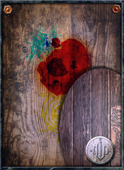 Poster Imagination Old fashioned background with wood and stains of paint