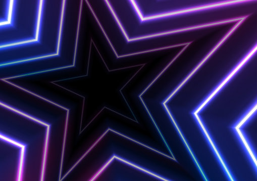 Blue ultraviolet neon glowing stars abstract background