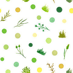 Set of Various Plant Elements (Grass, Bushes, Stems) and Colorful Dots, Watercolor Painted and Isolated on White Background, SEAMLESS Pattern