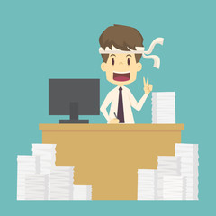 Businessman work hard shows sign of victory on his fingers.cartoon of business,employee success is the concept of the man character business,can be used as a background,infographic.vector illustration