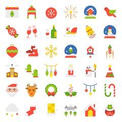 Merry Christmas icon set flat design