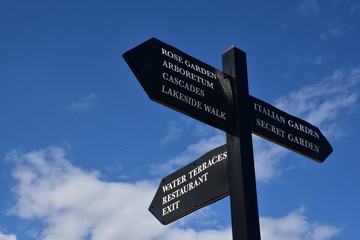 Blue sky and white clouds with direction signs