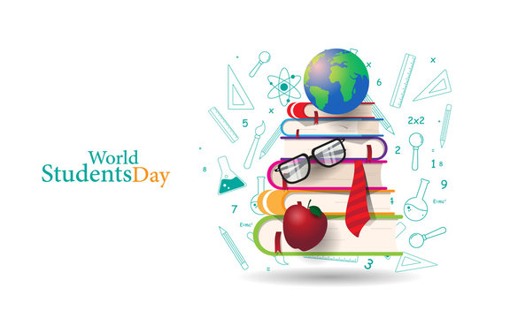 World Students Day Concept Design With book education element