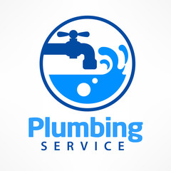 Plumbing service logo in blue, symbol on white with text. Vector