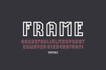Hollow sans serif font in sport style