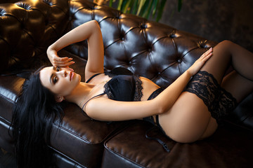 Perfect dark hair woman in sexy lingerie