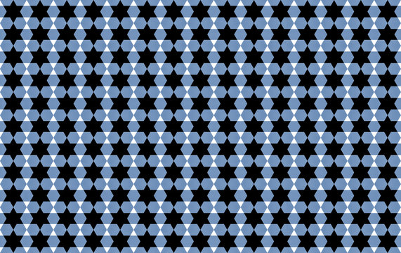 traditional pattern in colors of Israel flag blue white background with contrasting series of stars david endless set base design