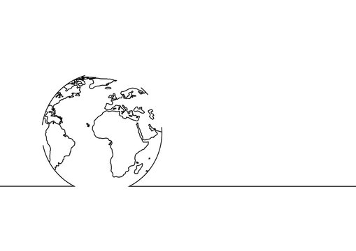 Continuous line drawing of Global network connection. Vector illustration
