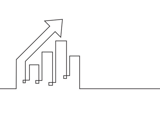 Continuous line drawing. Growing graph with arrow up. Business concept. Vector illustration