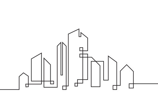 Continuous line drawing. Real estate, condo, apartment, company. Vector illustration