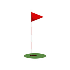 Golf flag on the grass with hole isolated on white background, flat element for golfing, golf equipment - vector illustration