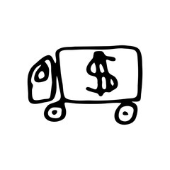Hand Drawn car doodle. Sketch dollar icon. Decoration element. Isolated on white background. Flat design. Vector illustration