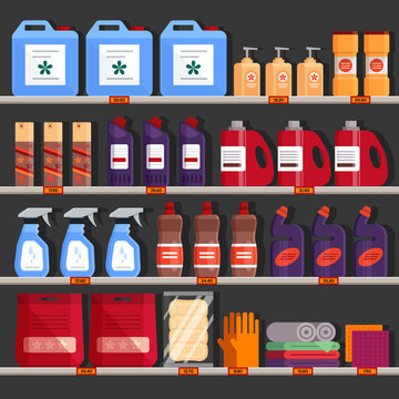 Store shelves with household chemical products. Household supplies aisle, cleaning agents in the supermarket used for washing, cleaning, laundry. Detergent and disinfectant products - flat vector