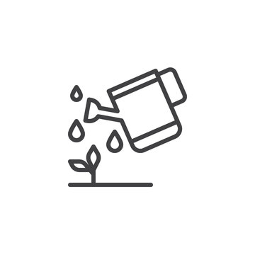 Watering plants outline icon. linear style sign for mobile concept and web design. Garden watering can line vector icon. Symbol, logo illustration. Pixel perfect vector graphics