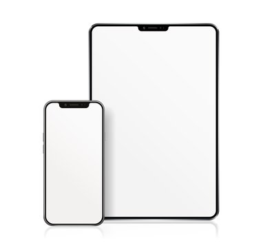 Realistic Tablet and Smartphone with white Wallpaper Screen Isolated on white. Set of Device Mockup Separate Groups and Layers. New Easily Editable Vector.