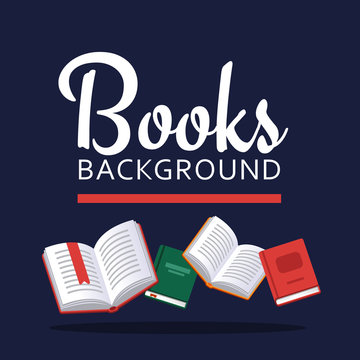 Books illustration. Library research. Scholarship concept. Literature background in flat style. Concepts for web banner and promotional material.