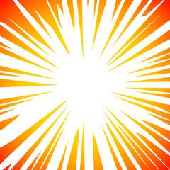 Sun Rays or Explosion Comic Retro vector radial boom. Sun burst frame design