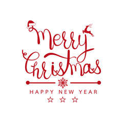 Merry Christmas and Happy new year design background. Calligraphy Lettering design card template. Vector illustration