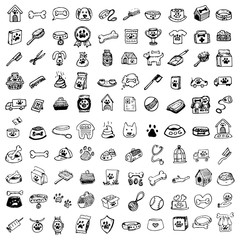 Hand drawn doodle Pets stuff and supply icons set. Vector illustration. Vet symbol collection Cartoon dogs and cats care elements: kennel, leash, food, paw, bowl, bone and other goods for pet shop
