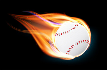 Flying and burning baseball ball on black background