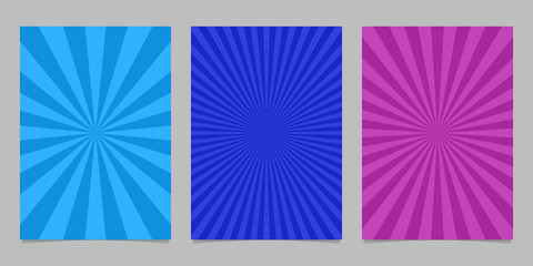 Abstract colored ray burst pattern brochure background set - vector design