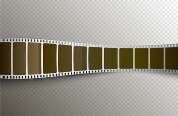 Vector film strip. Movie 3d filmstrip background. Film reel picture cinematography