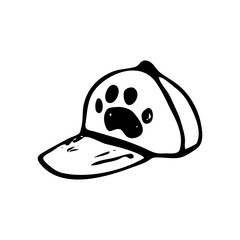 Hand drawn cap with paw doodle. Sketch pets icon. Decoration element. Isolated on white background. Vector illustration