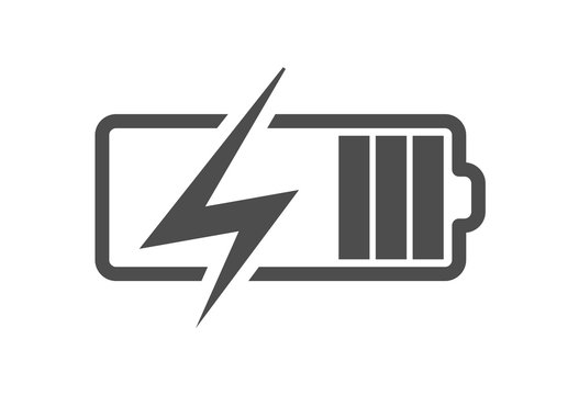 Battery charge icon, vector electrical power charger. Flat accumulator charge icon for smartphone