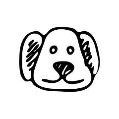 Hand drawn dog face doodle. Sketch pets icon. Decoration element. Isolated on white background. Vector illustration