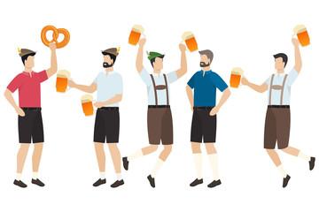 Men in traditional Bavarian tracht and lederhosen with beer in pretzels celebrate beer festival Oktoberfest. Vector