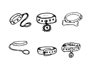 Hand Drawn vector illustration set of dog-collars sign and symbol doodles elements. Isolated on white background