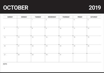 October 2019 desk calendar vector illustration