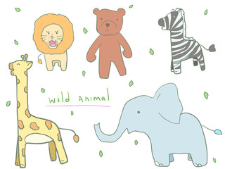 cute wild animal doodle for kid