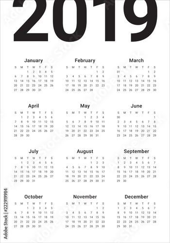 Template Calendrier 2019.Year 2019 Calendar Vector Design Template Stock Image And