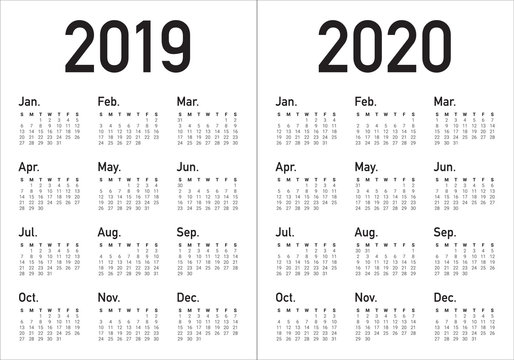 Year 2019 2020 calendar vector design template
