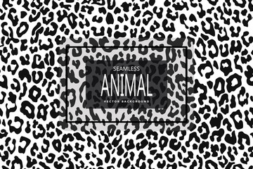 Leopard seamless pattern. White and black. Animal print. Vector background.