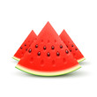 Watermelon sliced fruit juicy pieces of cut isolated on white background. Vector realistic wedge of fresh ripe sweet watermelons fruit. 3d realistic icon