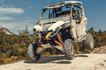 ATV jump in the mountains Wall mural