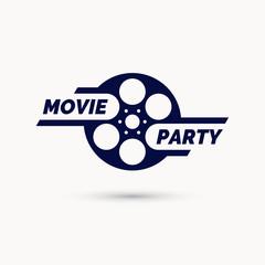 Movie party emblem. Modern cinema sign, vector illustration