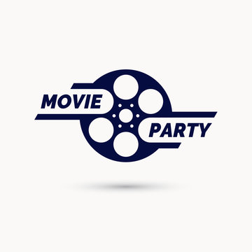 Movie party emblem. Modern cinema sign, vector illustration