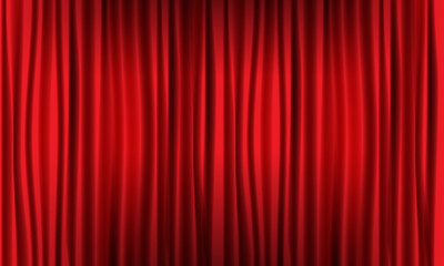 Close view of realistic red curtain. Vector illustration.