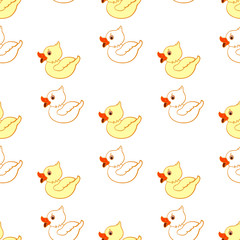 Seamless pattern with ducklings on a white background. Vector illustration.
